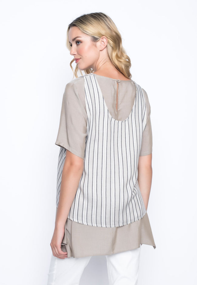 back view of the Loose Fit Handkerchief Hem Top by Picadilly Canada