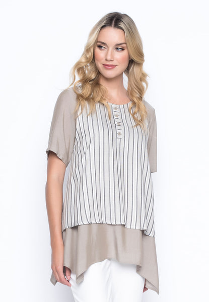 Loose Fit Handkerchief Hem Top by Picadilly Canada