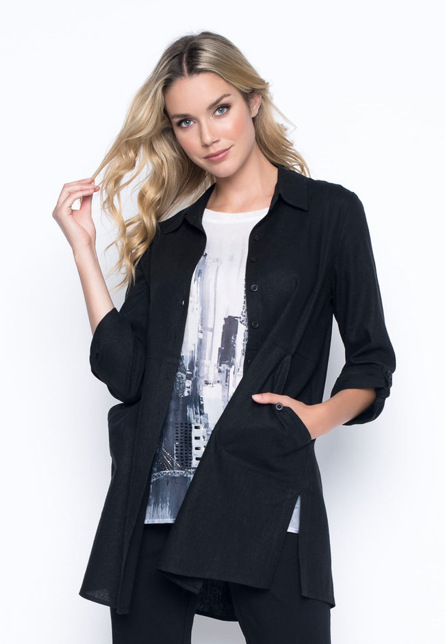 Button-Front Shirt With Side Slits in black by picadilly canada