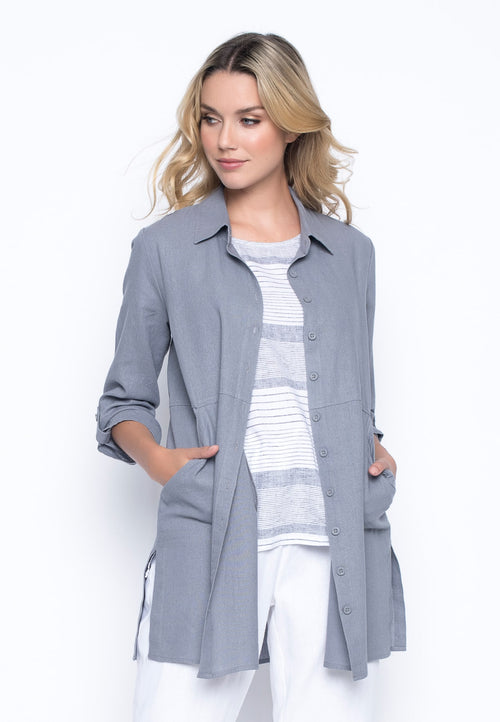 Button-Front Shirt With Side Slits in pebble grey by picadilly canada