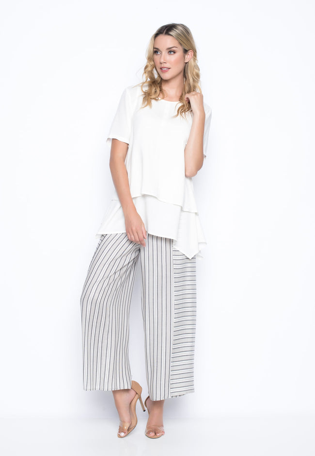 outfit featuring the Stripe Flowy Wrap Front Pants by Picadilly Canada
