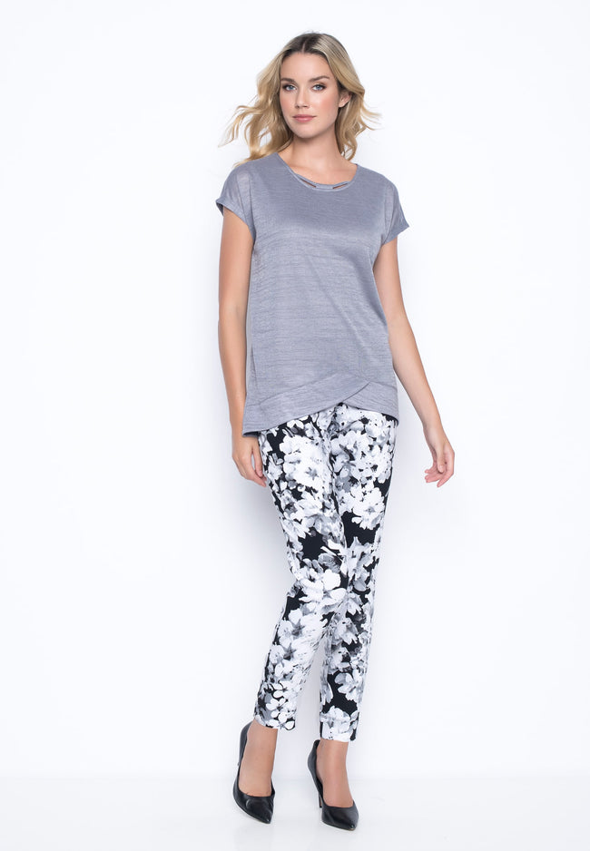 outfit featuring Blossom Print Ankle Length Pants With Slits by Picadilly Canada