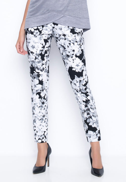 Blossom Print Ankle Length Pants With Slits by Picadilly Canada
