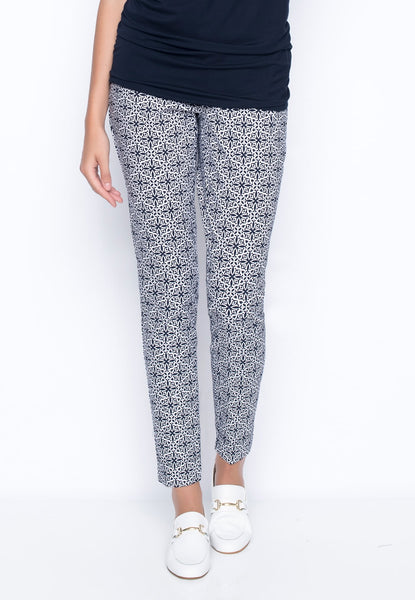 Tile Printed Ankle Length Pants with Slits by picadilly Canada