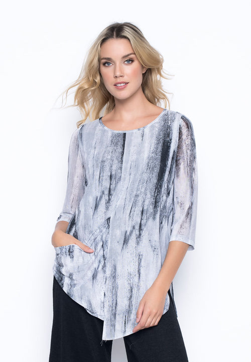 ¾ Sleeve Asymmetric Draped Top  by Picadilly Canada