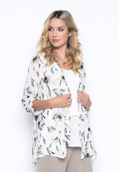 Wildflower ¾ Sleeve Open Front Jacket By Picadilly Canada