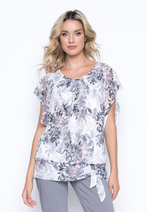Mesh Overlay Tie Front Top by Picadilly canada