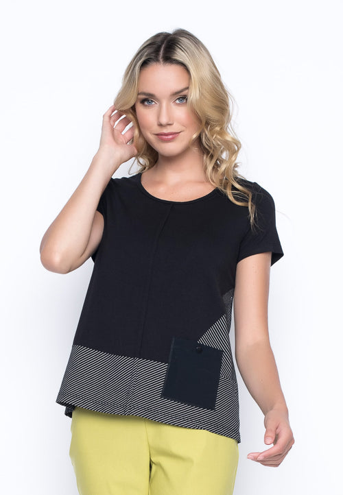 Short Sleeve Top With Pocket in black by Picadilly Canada
