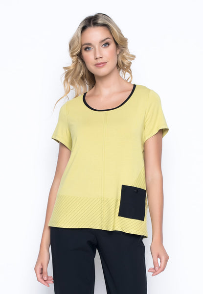 Short Sleeve Top With Pocket in key lime by Picadilly Canada