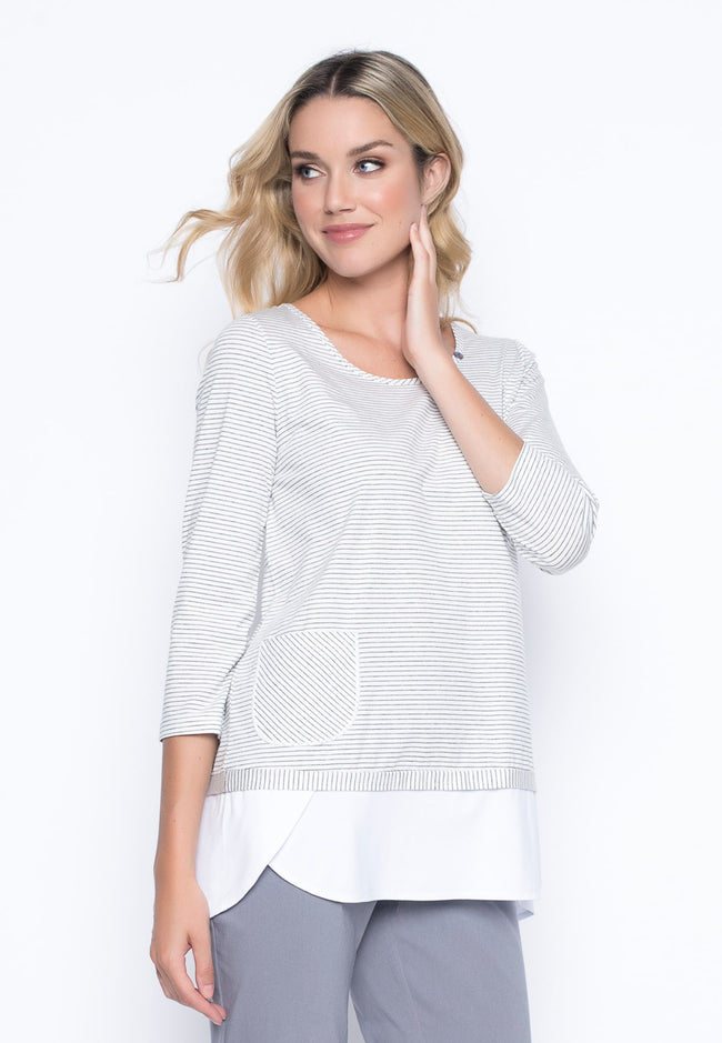 ¾ Sleeve Faux Layered Top in grey/white by Picadilly Canada