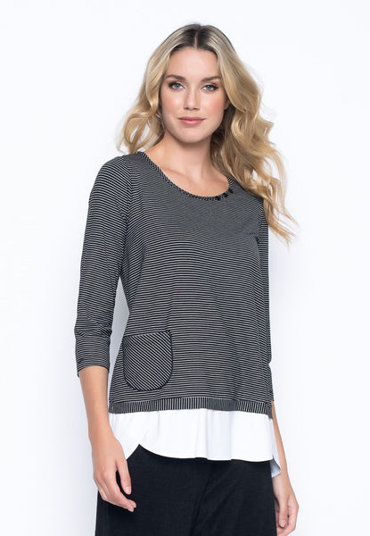 ¾ Sleeve Faux Layered Top by Picadilly Canada
