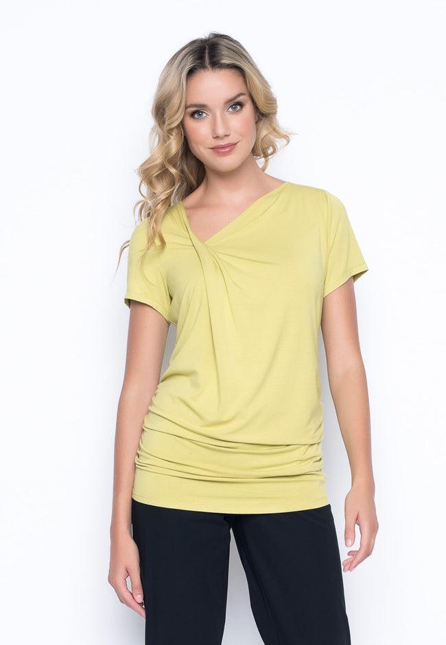 Short Sleeve Side Ruched Asymmetric Top in key lime by picadilly canada