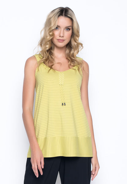 V-Neck Drawstring Tank in keylime by Picadilly Canada