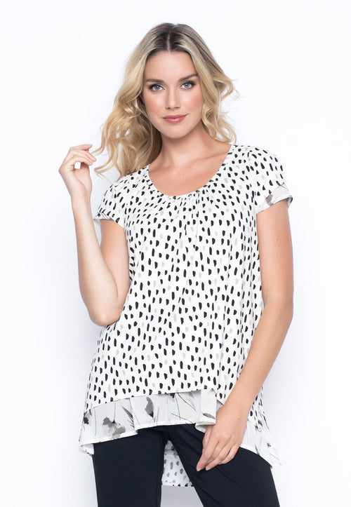 Ditsy Polka Dot Short Sleeve Gathered Front Top by Picadilly Canada