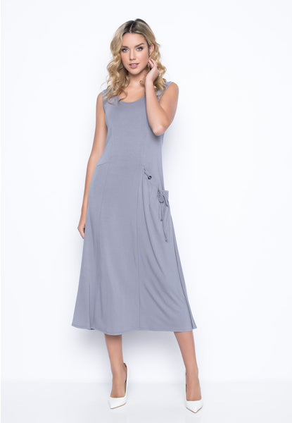 1-Pocket Tank Dress in pebble grey by picadilly canada