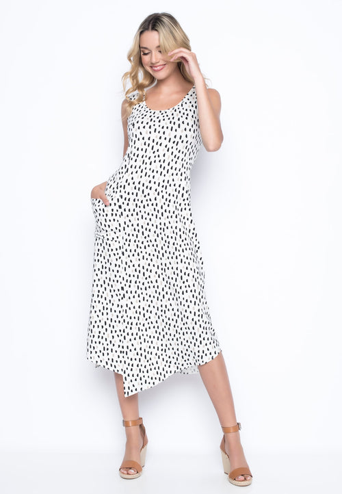 Ditsy Polka Dot Draped Pocket Tank Dress