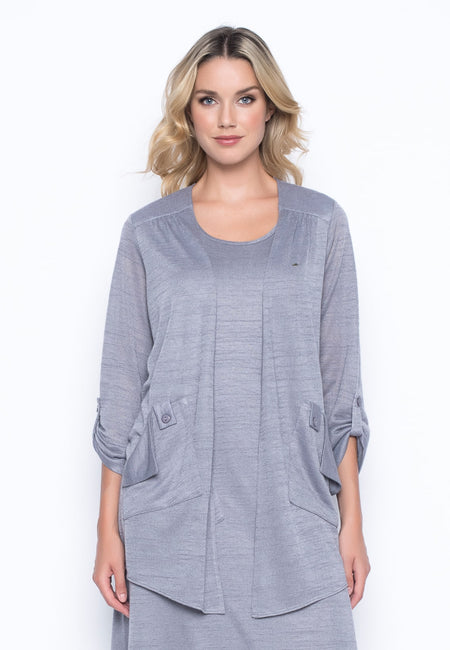 Grey Metallic Stripe ¾ Sleeve V-Neck Bubble Dress