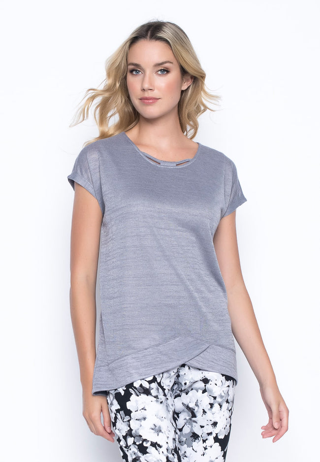 Strap Neckline Top in grey by Picadilly Canada