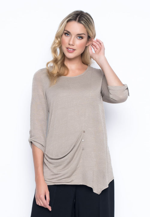 ¾ Sleeve Top With Draped Pocket in beige by Picadilly Canada