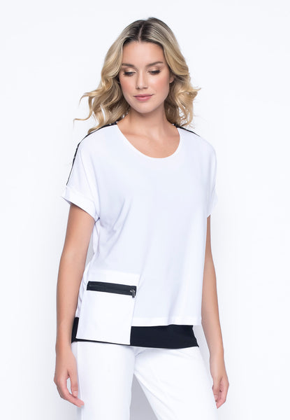 Grommet Trim Cropped Top in white by Picadilly Canada