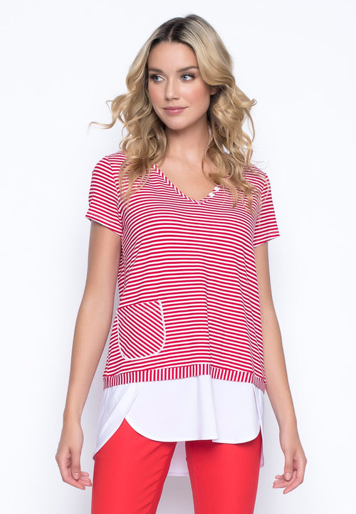 Short Sleeve Faux Layered V-Neck Top by picadilly canada