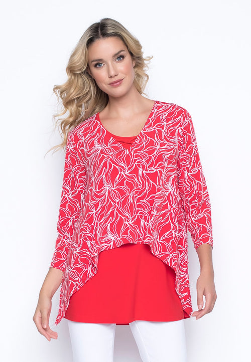 ¾ Sleeve Handkerchief Hem Cropped Top in lipstick red by Picadilly Canada
