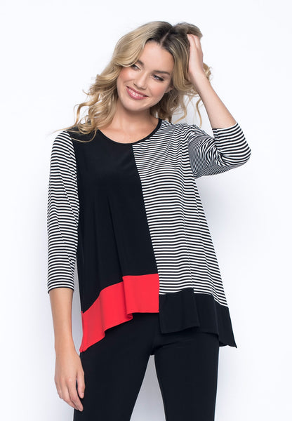 ¾ Sleeve Asymmetric Color Block Top by picadilly canada