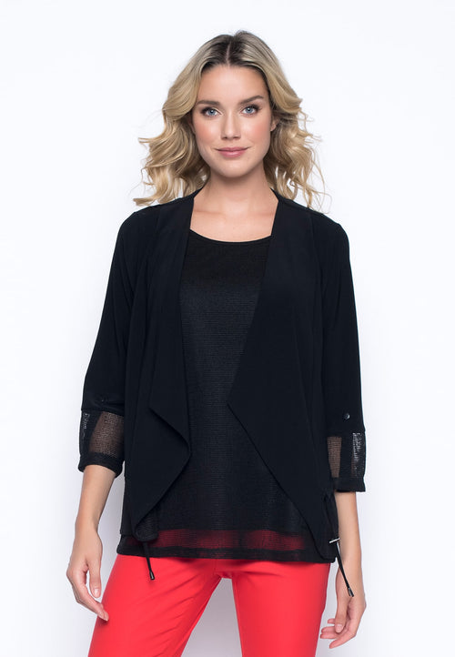Open Knit Trim Jacket With Drawstring by Picadilly Canada