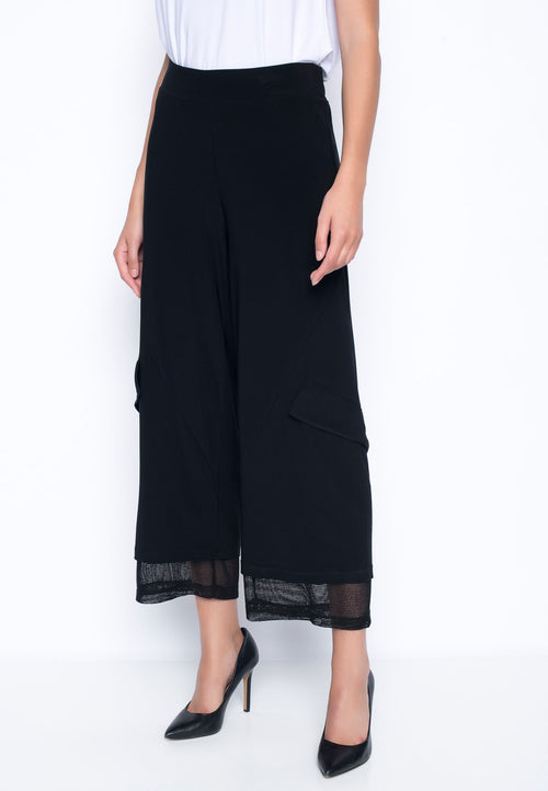 Open Knit Trim Wide Leg Pants by Picadilly Canada