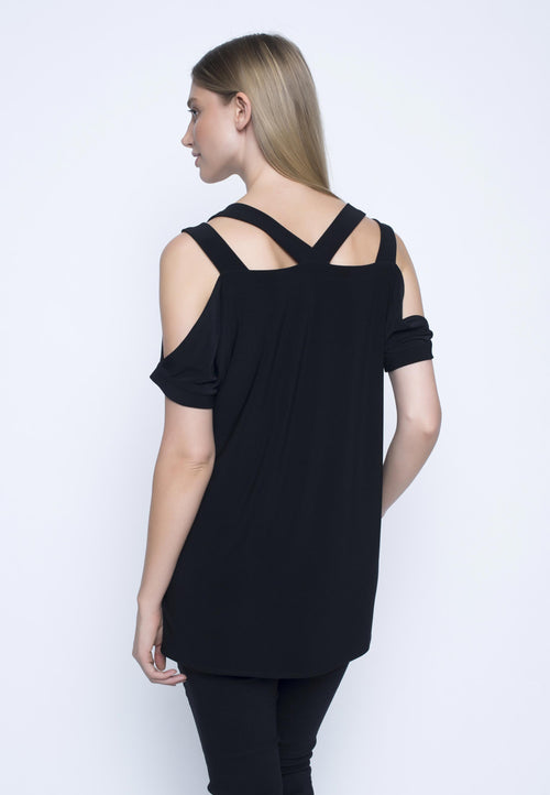 Multi Strap Top. Womens black off the shoulder top.