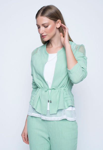 Contrast Trim Jacket With Drawstring
