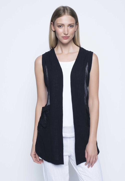 Black Contrast Trim Vest With Curved Hem