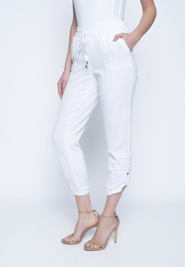 Womens White Drawstring Capri Pant