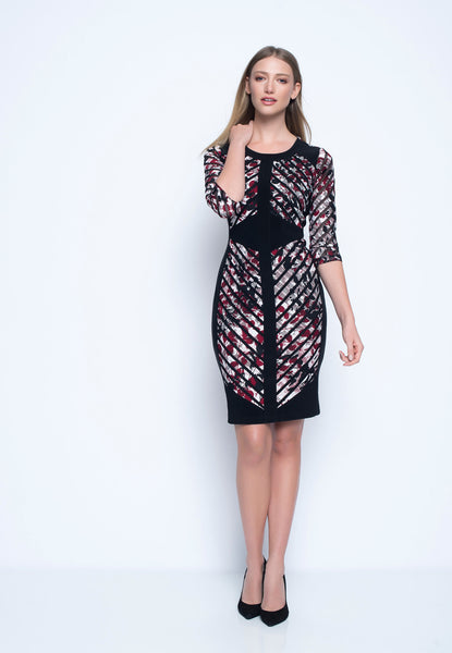 ¾ Sleeve Solid-Trimmed Dress