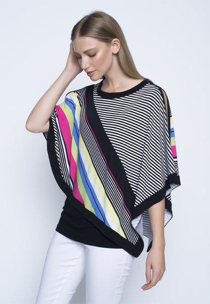 Picadilly Women's Fashion Overlay Top in rainbow.