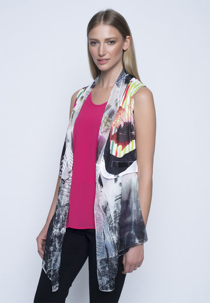 Picadilly Open Front Vest. Women's fashion long print vest.
