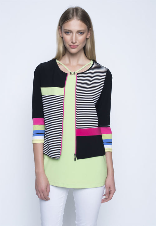 Picadilly Women's Fashion zip front color block jacket.