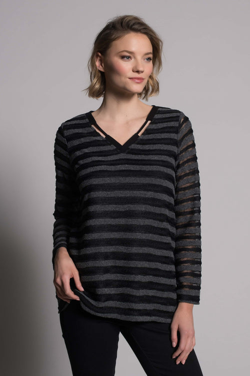 Knit Long Sleeve V-Neck  Detail Top by picadilly canada