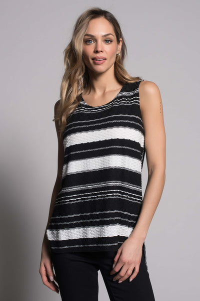 Textured Stripe Curved Hi-Low Hem Tank in black by picadilly canada