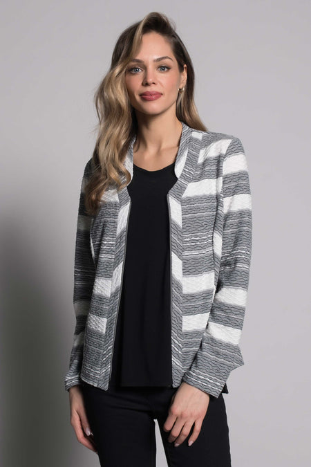 Plaid Print Asymmetric Zip Front Jacket