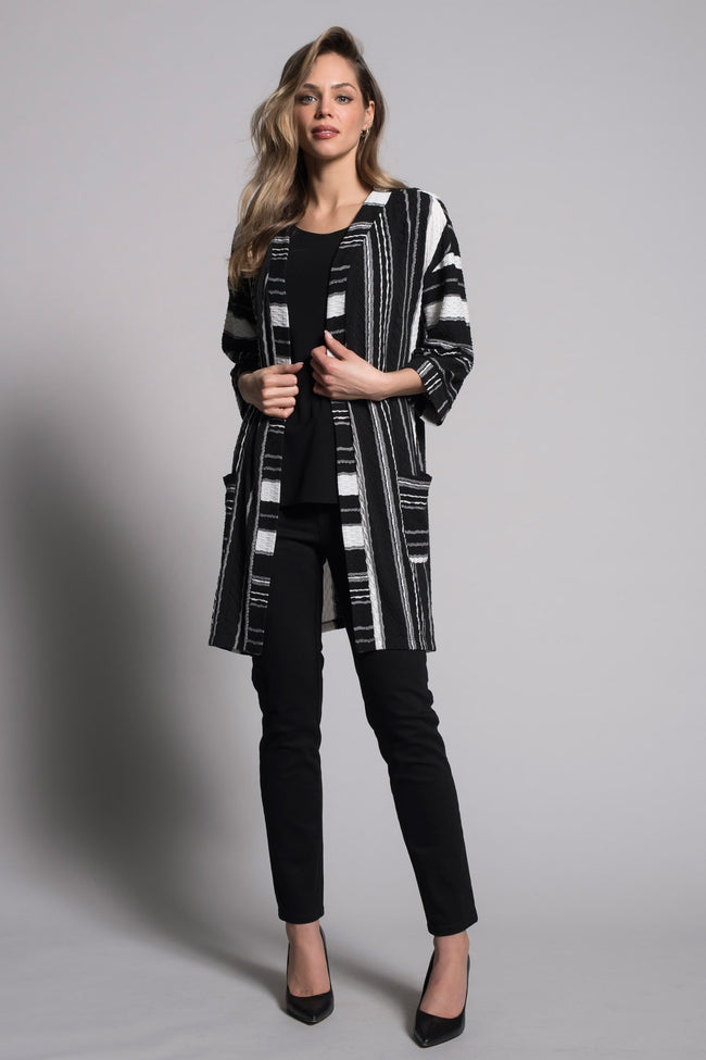 outfit featuring the Textured Stripe Open-Front Jacket with Pockets by picadilly canada
