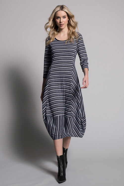 ¾ Sleeve Draped Bubble Dress by Picadilly Canada