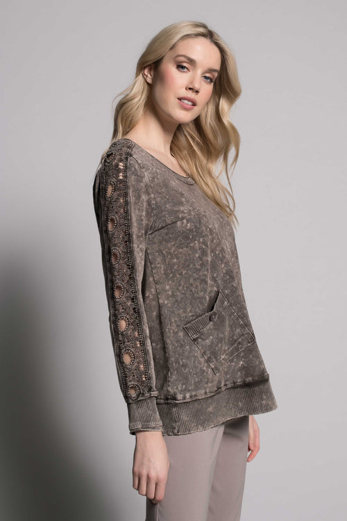 Long Sleeve Lace Trim Top by picadilly canada