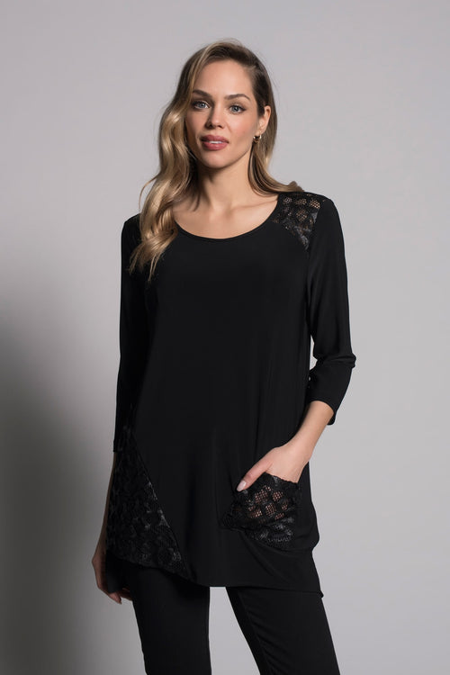 3/4 Sleeve Asymmetrical Hem Top hand in pocket by picadilly canada