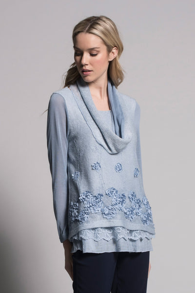 baby blue long sleeve embellished top by picadilly