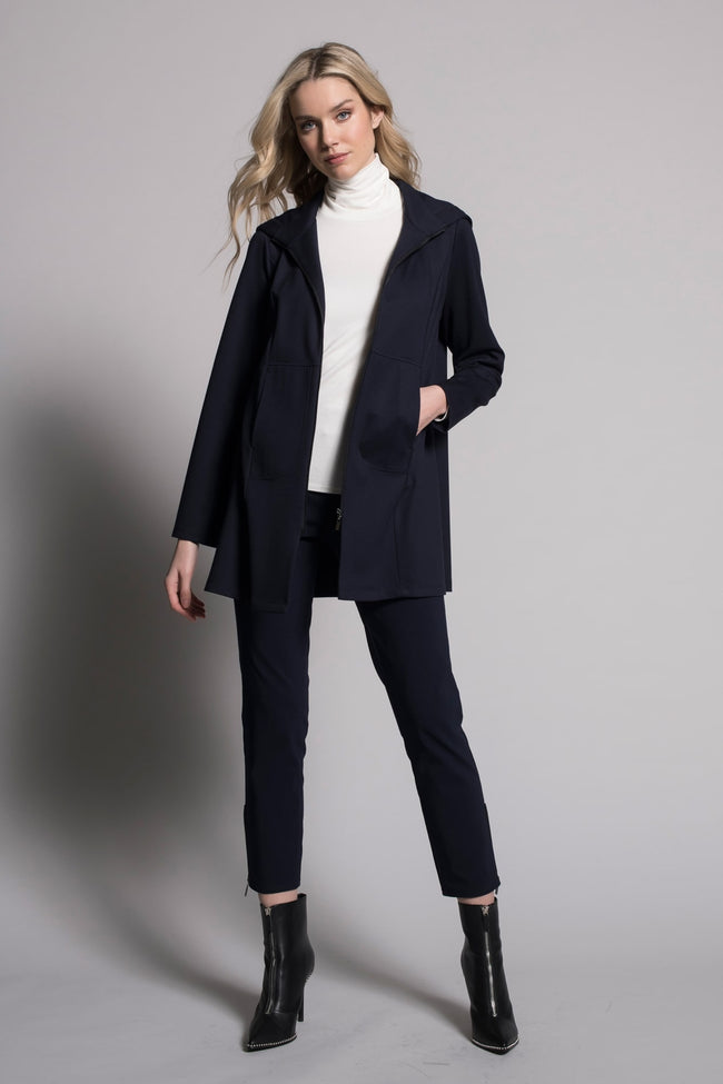 outfit featuring Zip-Front Jacket With Hoodie in deep navy by Picadilly Canada