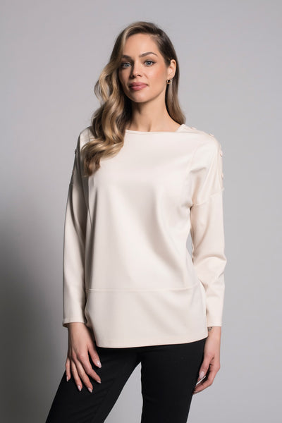 Button Trim Drop Shoulder Top in vanilla by picadilly canada
