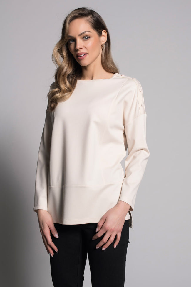 second image Button Trim Drop Shoulder Top in vanilla by picadilly canada