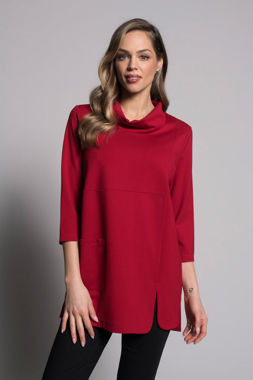 Draped Neck Top With Pocket in red by picadilly canada
