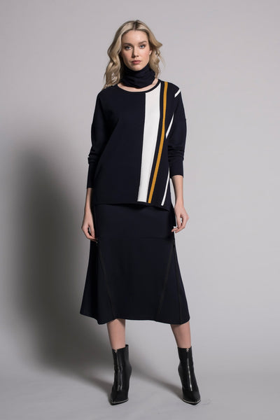 outfit featuring Zipper Trim Long Skirt in deep navy by Picadilly Canada